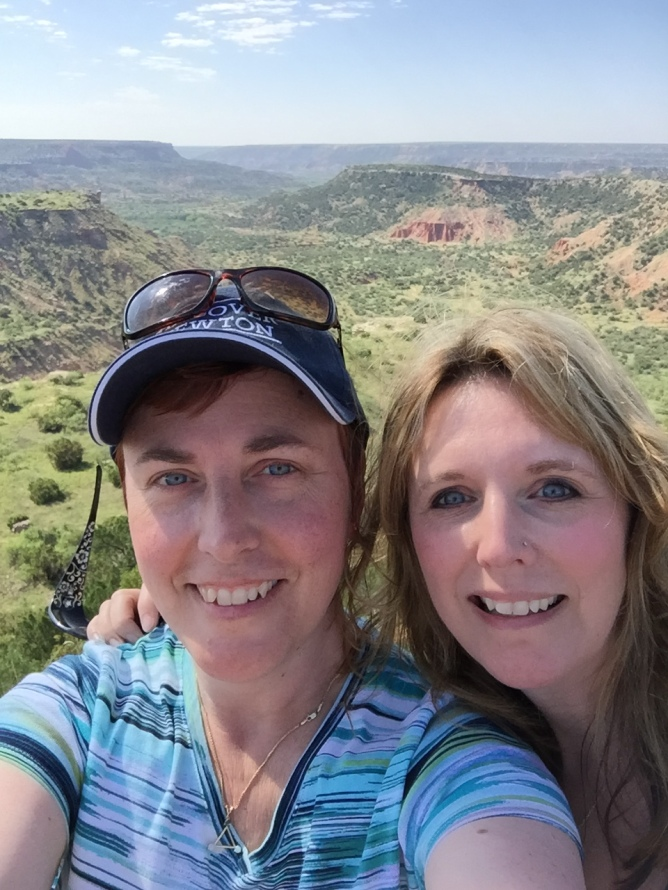 Char and Sioux, the best of sisters, taking a well-deserved selfie at Palo Duro Canyon Visitor's Overlook