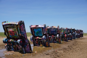 All lined up at Cadillac Ranch