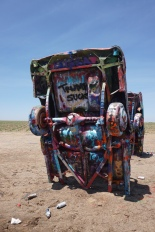 Political graffiti is popular at Cadillac Ranch too!