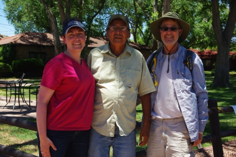 "Char, Mr. Smith (our amazing Navajo tour guide) and Dan, our other jeep companion. Sioux was with us too (taking the pic)! In the end, Mr. Smith called Sioux and I his ""granddaughters"" and asked us to return. We will!"